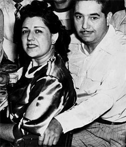 "Maria Macias Levyas, Marcos Najera's ""Nana Mary,"" and his grandfather, Mundo Leyvas, out on the brown town in the 1950s."