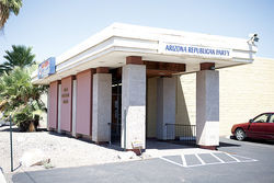 Arizona GOP headquarters, where Salmon holds monthly Log Cabin Republican meetings.