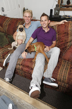 Matt Salmon and Kent Flake at home with their dogs, Javier and Jim.
