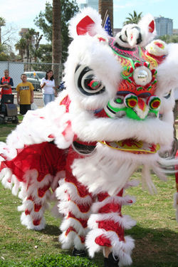 A chinese lion scares away evil spirits at Worldfest 2008