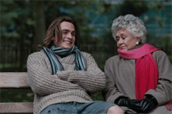 Generation gap: Rupert Friend and Joan Plowright form an unlikely kinship in Mrs. Palfrey at the Claremont.