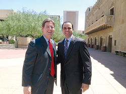 Penzone with Phoenix Mayor Greg Stanton, just after Stanton endorsed him