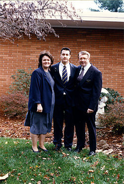 Omar Call in his Mormon days, flanked by his parents, Lola and Brad.