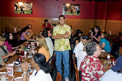 David J. Ramirez, at lunch with the city's public information staff during happier times.