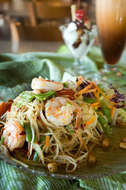 The papaya salad at Lemon Grass Thai Cafe brings the heat.