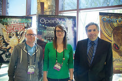International UFO Congress organizers Jason McClellan (left), Maureen Elsberry, and Alejandro Rojas.