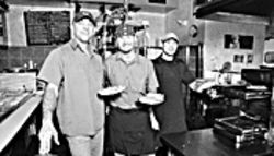 Pizza paisanos: From left, Pie Zanos co-owner Jayce Elliston, his partner Mike Curtiss, and manager Solomon Von Weimer.