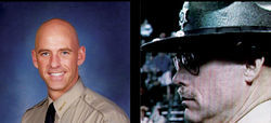 Pinal County Sheriff Paul Babeu became a national media darling after Deputy Louie Puroll (right) said he was shot in the desert by drug smugglers bearing AK-47 rifles.
