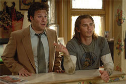 """You know I know you're gay"": Seth Rogen and James Franco are Cheech & Chong locked and loaded in Pineapple Express."