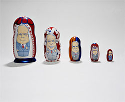 New Times&#039; one-of-a-kind McCain nesting dolls, from left: presidential, maverick, Arizonan, POW, angry.