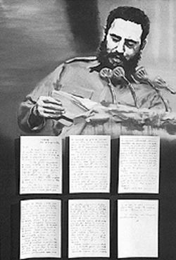 "In Portrait of Fidel, Castro is shown reading a farewell letter from Che Guevara. ""It is the moment at which the tragic prophecy is made public,"" the artist notes."