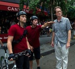Director David Koepp (right) with Premium Rush star Joseph Gordon-Levitt.