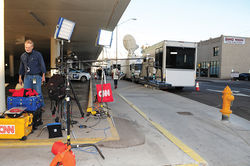 Nearly every day of the trial, national news media, including CNN, parked large satellite trucks on a side street near the courthouse.