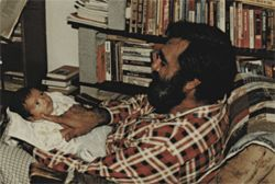 Fazal Rahman and a very young Tariq lock eyes.