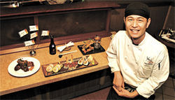 Counter attack: Chef-owner Yasu Hashino shows off his expertise at Yasu Sushi Bistro.