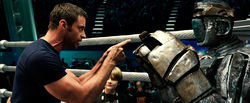 Hugh Jackman coaches a robot in Real Steel.