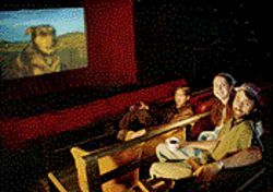 Seeing the big picture in the Monkey Show Movie Theater.
