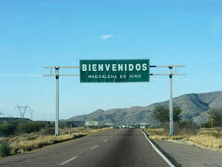 The road leading into Oscar Vasquez's new home in Mexico.