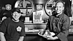 Mesa's meat maestros: Big City BBQ marketing director/owner Len Wechsler (left), with executive chef/owner J.  Rasshad Brown.