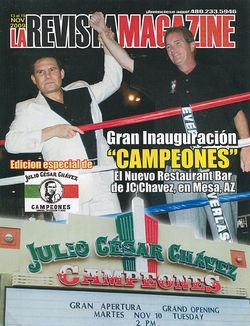 Julio Cesar Chavez and Brian Weymouth join hands at the November 2009 grand opening of Campeones in Mesa. The place closed seven months later.