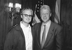"""Hey, Bill. How about a cocktail?"" A giddy president gets a chance to pose with Stephen Ashbrook."