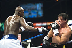 He's baa-aack: Sylvester Stallone (right, with Antonio Tarver) steps into the ring one last time in Rocky Balboa.