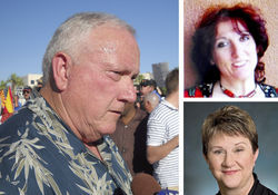 "Russell Pearce (left) and his stooge patrol: Linda ""Wrong Way"" Bentley of the Sonoran News (top) and legal beagle Lisa Hauser."