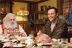 Still his own bad self: Vince Vaughn cashes in on Xmas with Paul Giamatti in Fred Claus.