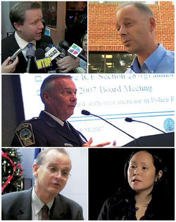 The faces of 9500 Liberty: Clockwise, from top left: Prince William County Board of Supervisors Chairman Corey Stewart; blogger/nativist Greg Letiecq; PWC Police Chief Charlie Deane; filmmaker Annabel Park; and FAIR lawyer Mike Hethmon.