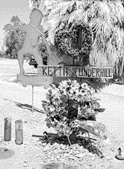 Friends maintain this shrine to Keith Underhill, who was killed by an off-duty Mesa officer.