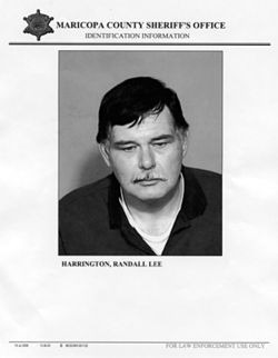 Now he's a journalist: Randy Harrington in a booking photo.