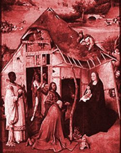From Bosch's Adoration of the Magi, the inspiration for Amahl and the Night Visitors.