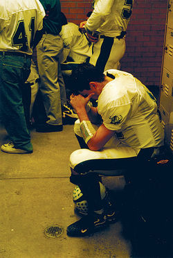 Nixon prepares mentally for the 1999 state quarterfinal game.