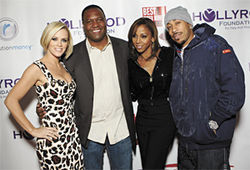 Several celebrities attended Coles&#039; Super Bowl party in February, including (from left) Jenny McCarthy, former NFL star Rodney Peete, Holly Robinson Peete, and rapper Ludacris.