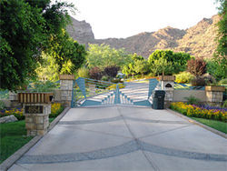 The gated entrance to Rockridge Estates on Camelback Mountain.
