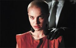 Head trip: A shaved Natalie Portman is the hero of V for Vendetta.