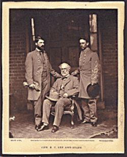 General Robert E. Lee and Staff, Matthew Brady, 1865. Albumen print from wet collodion negative. Worcester Art Museum Collection, Sarah C. Garver Fund.