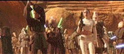 Jedi blaster: Hayden Christensen and Natalie Portman head up the Force's rank and file in Attack of the Clones.