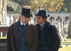 Jude Law and Robert Downey Jr. in Sherlock Holmes: A Game of Shadows
