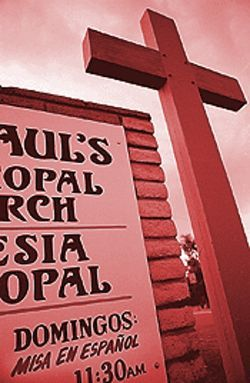 A bilingual sign of the changing times at St. Paul's  Episcopal Church in the Green Gables neighborhood.