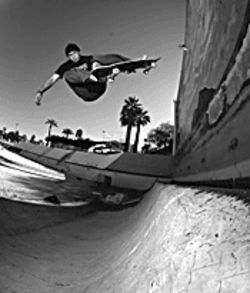 Grind match: Skaters catch air at the Desert West Skateboard Plaza's contest.