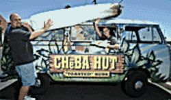 Reefer madness: Cheba Hut manager Kyle Dakota bogarts a fatty, while employee Kathy Brooks offers a cure for the munchies.