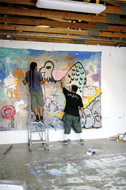 Hector Ruiz and DOSE collaborate on a piece at the Chocolate Factory, Ruiz's studio.