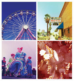 Hearting Phoenix, clockwise from top left: Ferris wheel at the county fair, the color TV sign on the Coronado Hotel, prickly pear in bloom, Ballet Folklorico