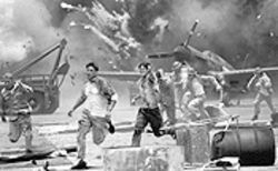 Blown up good: Ben Affleck and Josh Hartnett as pilots  caught on the ground during the Pearl Harbor attack.
