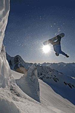 Frozen wave: A snowboarder catches some big air in the documentary First Descent.