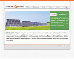 One of Matinee's websites displays stock photos of solar panels instead of its own alleged projects.