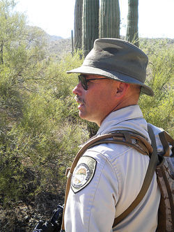 Puroll during his return earlier this month to the shooting scene in the desert near Interstate 8 in Pinal County.