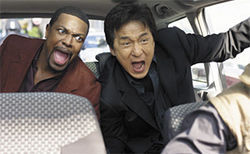 French kicks: Jackie Chan and Chris Tucker go for a wild ride in Rush Hour 3.