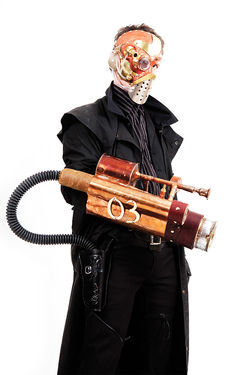 Ben Brose wields Wild West steampunk weapons.